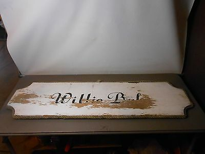 "Original Vintage Wood  BOAT Sign  45"" x 13""  Weathered Wood ! REVERSABLE!!"