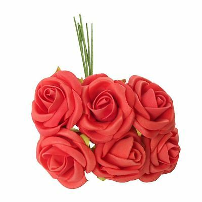 12x Bunches Wholesale Job Lot of 6 Small Red Open Roses! Light Coral Foam Flower