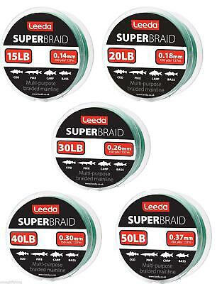 Leeda Super Braid Fishing Line 150 Yard Spool**15,20,30,40 50lb BS**Carp Pike