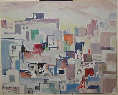 Vintage LEIGHTON CRAM 'Cubist Dissection Abstract' CITYSCAPE Painting - LISTED