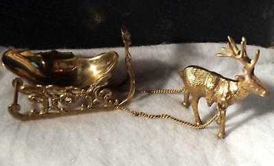 Solid Brass Holiday Reindeer Drawn Sleigh Ride India Vintage 3 Piece NIP