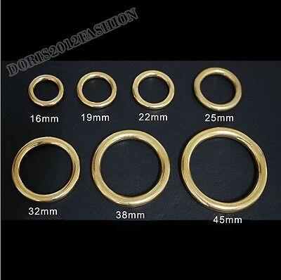 2pcs O Rings copper brass metal Seamless buckle Hardware Bags garment 13-50mm