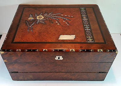 ANTIQUE VICTORIAN 19c MOTHER OF PEARL & EBONY INLAID PORTABLE WRITING BOX SLOPE