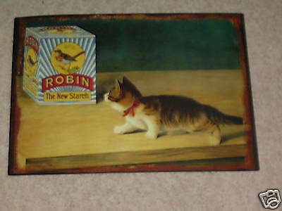 Victorian Robin Starch Cat Metal Sign  /Vintage/tin