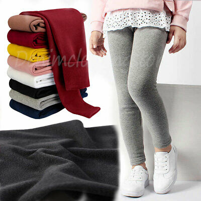 Girls Kids Winter Warm Fleece Lined Thick Leggings Stretchy Thermal Pant Trouser