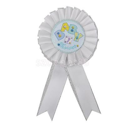 White Baby Shower Award Ribbon Rosette with Footprint Party Favors Supplies
