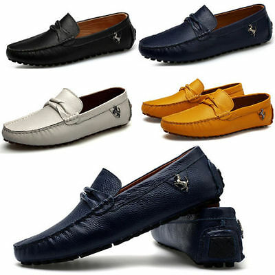 Mens Soft Cowhide Leather Shoe Casual Moccasins Loafer Slip On Driving Shoes New