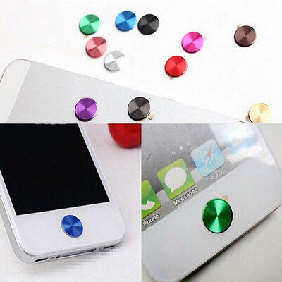 2PCS Aluminium Metal Round Home Button Sticker Easy Remove for iPhone 4 4S 5S PA