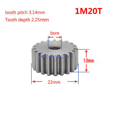 1 Mod 20T Spur Gears #45 Steel Pinion Gear Tooth Diameter 22MM Thickness 10MM