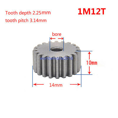 1 Mod 12T Spur Gears 45 Steel Gears  Tooth Diameter 14MM Thickness 10MM