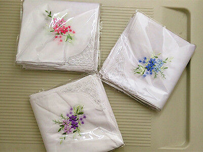 6/12PCS LACE Embroidered  LADIES HANDKERCHIEFS PERFECT COTTON VINTAGE INSPIRED