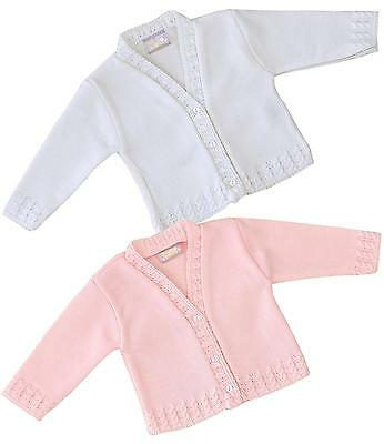 BabyPrem Baby Clothes Girls Pink White Knitted Cardigan Cardi 0 - 18 months