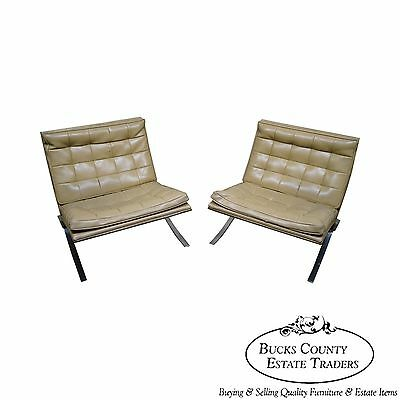 Vintage Pair of Chrome Frame Barcelona Style Lounge Chairs