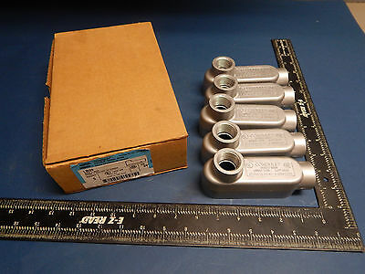 "Lot of 5 Crouse-Hinds LB29 Conduit Outlet Body 3/4"" (.75"")"