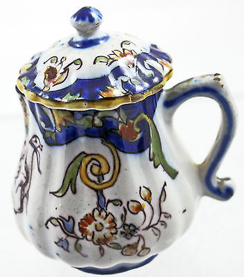 Antique French Faience Quimper Lidded Creamer #1