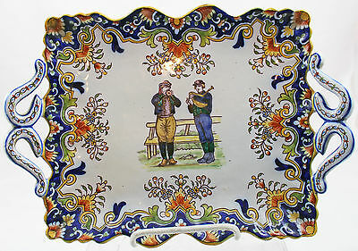 ANTIQUE FRENCH FAIENCE QUIMPER Two-Handled Musicians Dish / Tray
