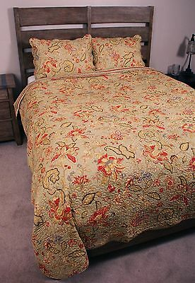 Queen Quilt Jacobean French Country Sage Paisley Cotton