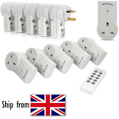 5 Pack Wireless Remote Control Electrical Power Outlet UK Plug Switch Socket