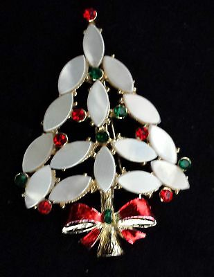 Mary Morrison Xmas Tree Navette pearl red green Rhinestone Pin Brooch Jewelry