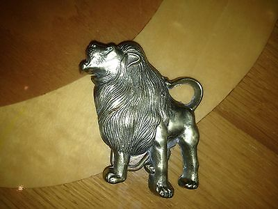 Huge Lion Solid Brass Baron Belt Buckle 1978