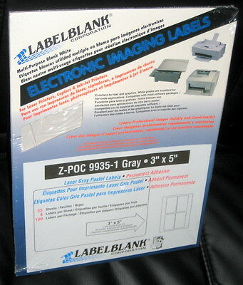 """LABELBLANK PASTEL GRAY 3"""" x 5"""" LABELS 25 SHEETS OF 4 LABELS - 100 LABELS TOTAL"""