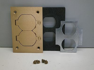 Steel City P 64 DS Brass Duplex Floor Box Cover Plate With Lift Hinged Lid