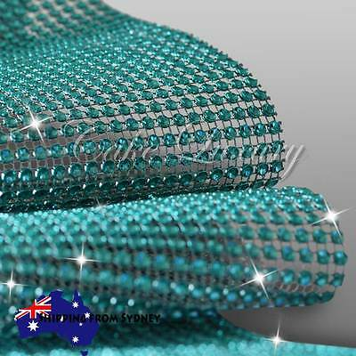 Aqua Teal Diamante Diamond Crystal Rhinestone Sparkling Effect Mesh Ribbon
