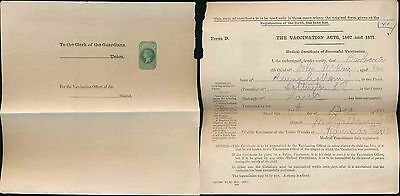 Gb Qv Stationery 1871 Part Vaccination Certificate...uncancelled