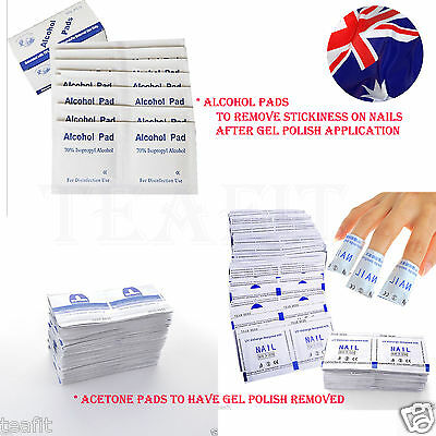 Alcohol Pads UV Gel Polish Gelish SNS DIP Nails Remover Soak Off Acetone Pads