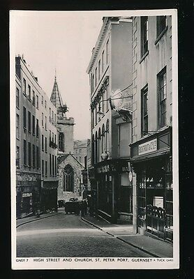 Channel Islands GUERNSEY St Peter Port High St Church 1956 RP PPC by Tuck