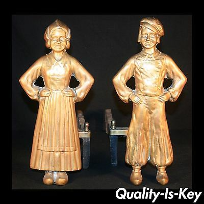p010 Antique Sheffield Dutch Boy and Girl Iron Fireplace Andirons Firedogs Vtg