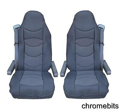 2 Pcs Black Comfort Padded Seat Covers Cushioned For Renault Trucks T K C D New