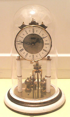 S. Haller Simonswald German Anniversary Winding Movement Mantle Clock,Glass Dome