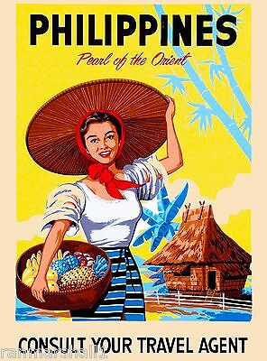 Philippines Pearl of the Orient Island Vintage Travel Advertisement Art Poster
