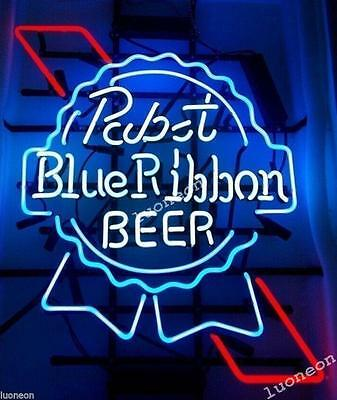 19X15 Pabst Blue Ribbon PBR Beer Bar Handcrafted Real Neon Light Sign FAST SHIP