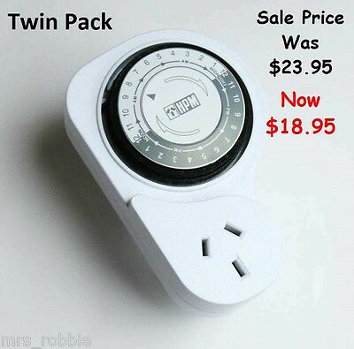HPM 24 Hour Timer 2 Pack Switch Manual On Off Power Heater Light Caravan Twin AA