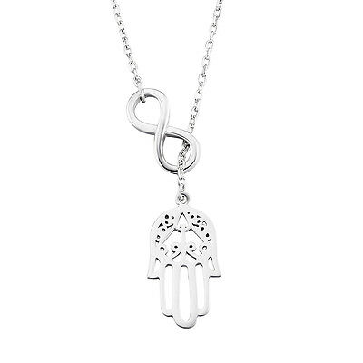"Knot Infinite Luck Hamsa Hand Necklace 18"" Chain Real 925 Sterling Silver Choker"