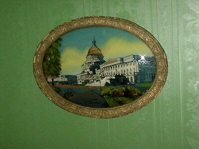 Antique Oval White House Reverse Painting - Chicago Portrait Co. 1917 - Framed