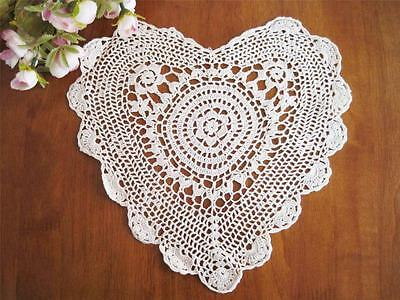 Chic Hand Crochet Heart Shape Cotton Doily White 10""