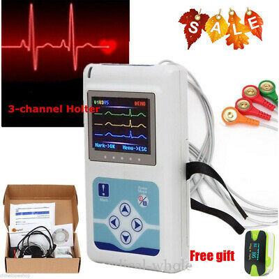 3-channel Holter Recorder Monitor 24hs Measure electrocardiogram+USB CD Analysis