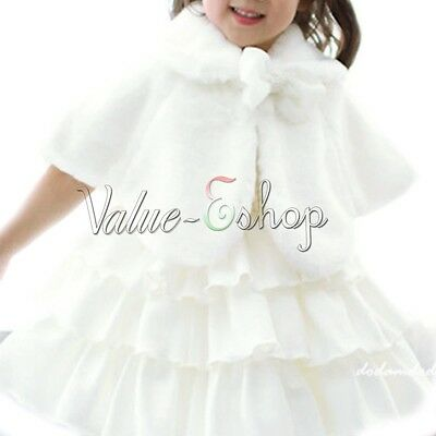 Little Girls Faux Fur Princess Bridesmaid Shrug/Wedding Bolero/Cape Coat/Jacket