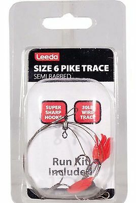 New Leeda Pack Of 5***** Pike Trace Size 6 Semi-Barbed-Deadbait Rig Snap Tackle