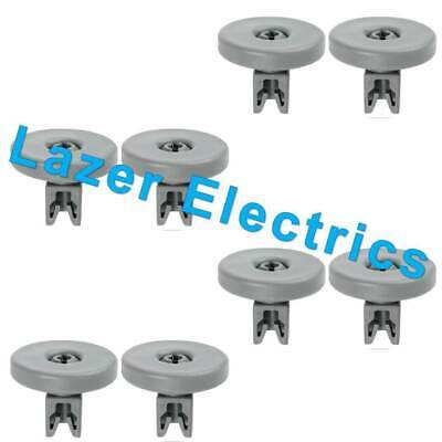 8 x Grey Lower Basket Wheels For AEG Electrolux Zanussi Tricity Dishwashers