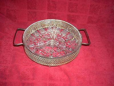 Silverplated? Footed Dish holder With Divided Glass Insert