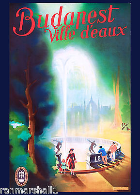 Hungary Hungarian Budapest Ville d'eaux Vintage Travel Advertisement Poster