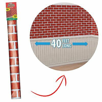 Red Brick Chimney Wall Scene Setter Christmas Room Roll Decoration Backdrop 40ft
