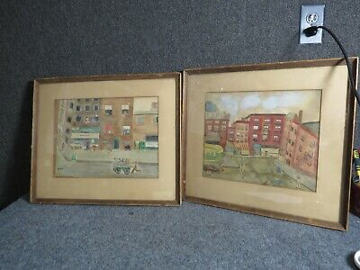 Antique New York Street Primitive Scenes  Pair of Watercolor Paintings by Renee