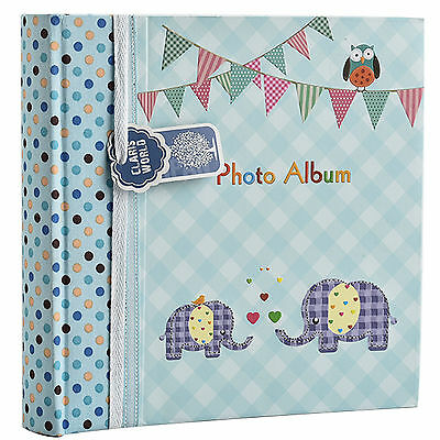 Baby Boy Blue Memo Slip In Photo Album 200 6x4 Photos Elephant Kids -BA-9851