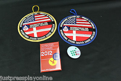 2012 Denmark Boy Scout Jamboree Pins & International Scouting Day Patches