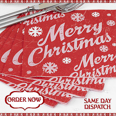 RED & WHITE MERRY CHRISTMAS NAPKINS - BUFFET TABLE SERVIETTES  3 Ply 20 Pack